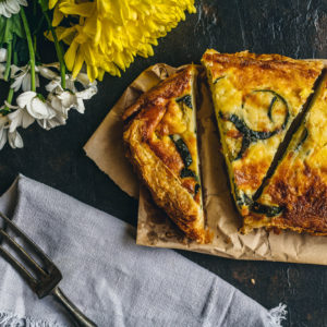 Quiche with Courgette, red onions & Emmental cheese
